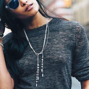 Stella & Dot Brynn Lariat Necklace - Silver - NWOT